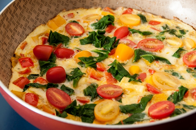 Fritada de Espinafre, Pimentão e tomate (omelete)