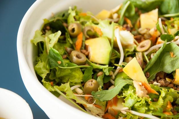 Salada Grão de Trigo, Brie e Rúcula